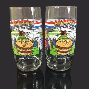 Other - Set Of Two 1986 McDonald's McVote 86 Glass Cups
